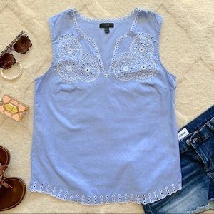 J. Crew Blue and White Embroidered Tank Top